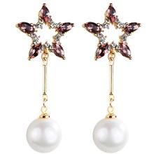 Classic Crystal Star Women Dangle Earrings Pearl Pendant Earrings For Women Drops Earrings Bohemian Earrings faux pearl dangle earrings