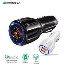 QC3.0 Car Charger 3A Quick Charge Fast Charging Car Dual USB Charger for iPhone 6 Samsung S8 Tablet Mobile Phone in Car-Charger car usb charger quick charge 3 0 2 0 mobile phone charger dual usb fast charging adapter for samsung iphone tablet car charger