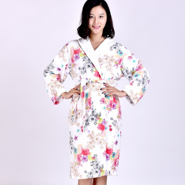 MMY 2015 New High Quality Cotton Robe Floral Women Bathrobe Terry ...