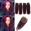 Virgin Peruvian Deep Wave With Closure 99J Red Hair Bundles With Lace Closures 99j Human Hair Weaves 4 Bundles With Closure