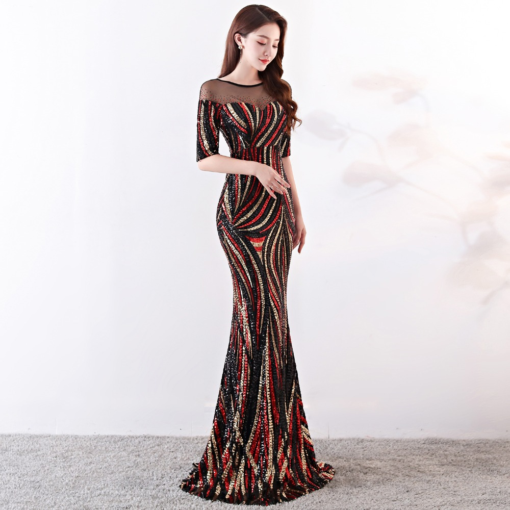 Elegant Crystal Beaded See Through Voile Shor Sleeve Mermaid Long Formal Dresses For Women 2018 Sexy Nightclub Wear Party Dress (4)