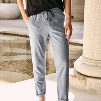 QZHIHE Man Loose Drawstring Ankle length Pants Solid Grey Teenage Boy Joggers Trousers Mid Straight Yoga Sports Pants 90101