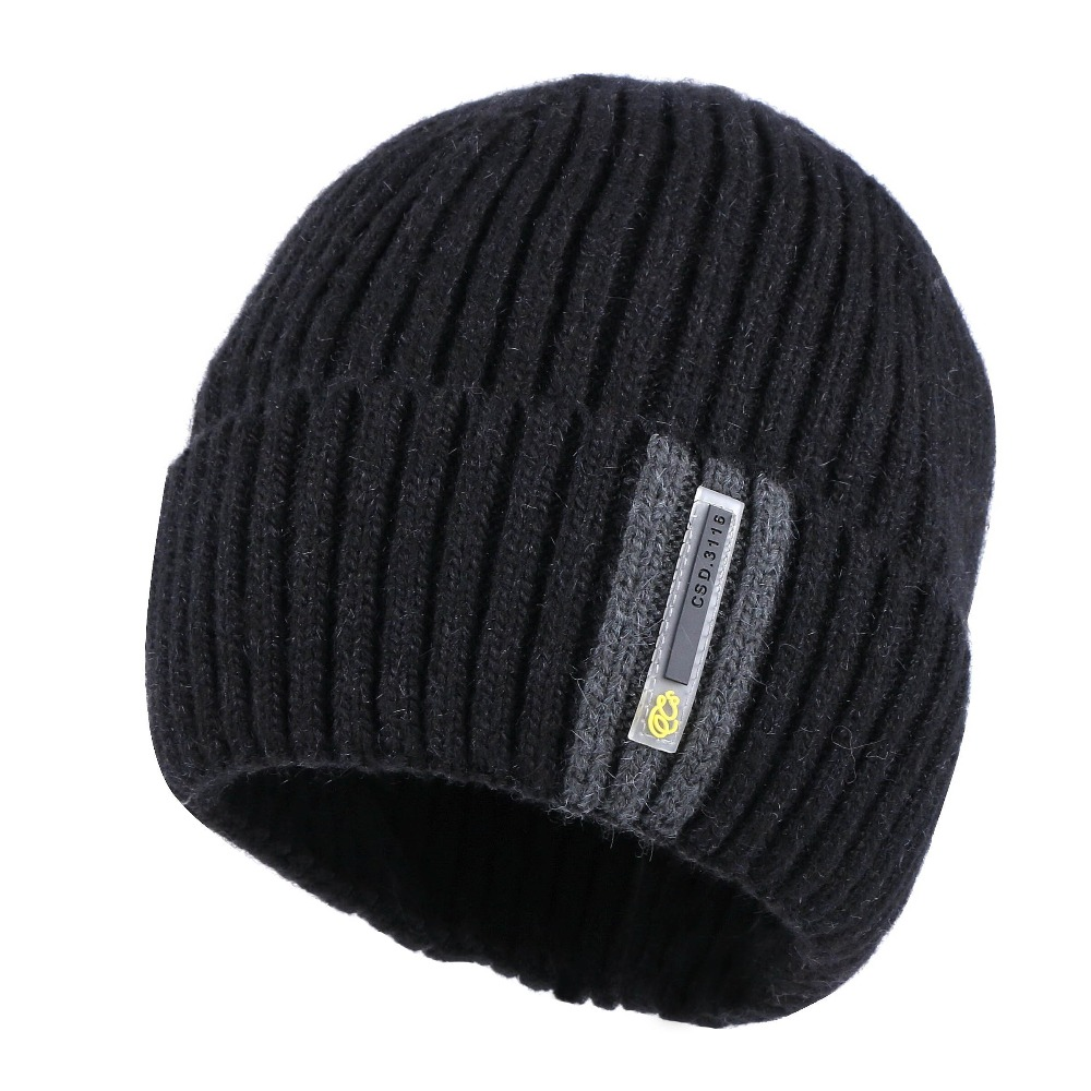men women new design winter beanies real wool yarn winter hats skullies gorros 54-62 CM two layer thick thermal unisex beanie