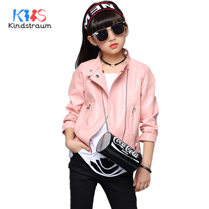 Kindstraum 2018 New Trend Girls Fashion Faux Leather Jackets Kids Solid Brand Leather Coat Children Spring Outwear, MC1051