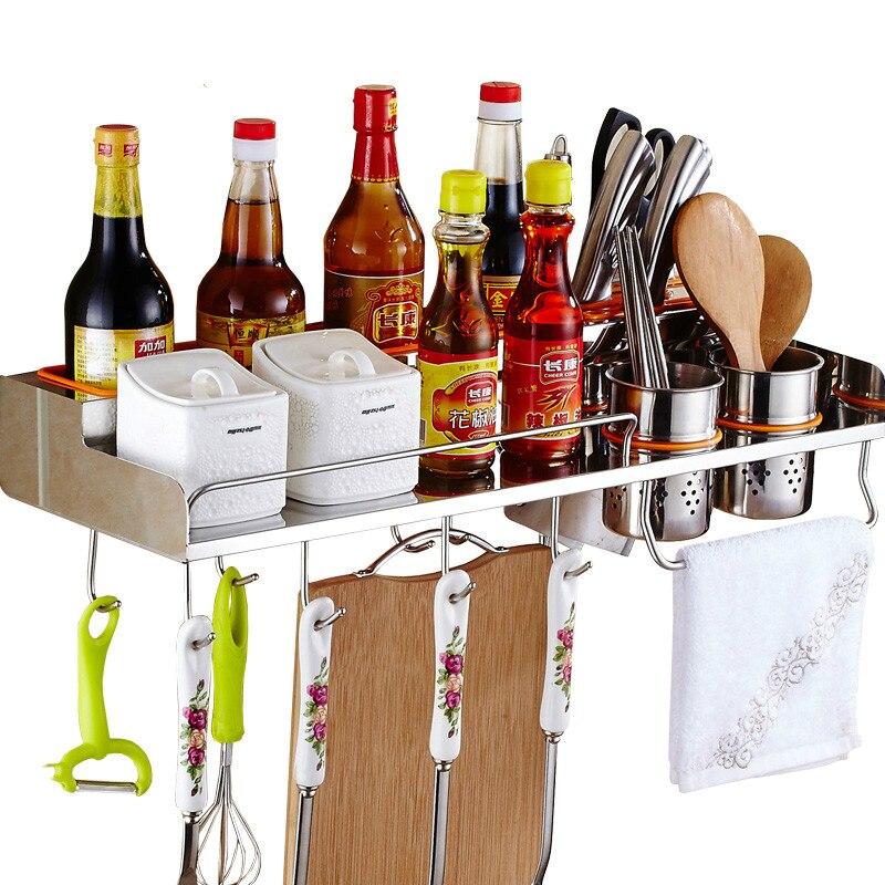 304 кухонные полки из нержавеющей стали, настенные Многофункциональные кухонные приборы, подвесные полки с крючками LU50714