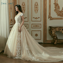 ĐẦM REN VINTAGE Áo Váy Dài Tàu Nắp Tay Bóng Bộ Đồ Bầu Cưới Vestidos Cerimonia 2019 Đầm Vestido De Noiva Princesa