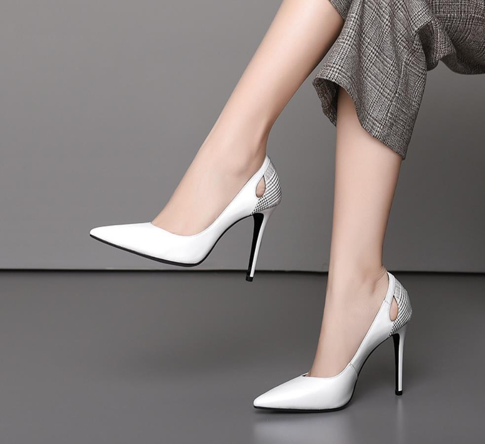 Moda Delgada La Color Alto Luz Estilo Cuero Zapatos Tacón Talón Primavera Boca Puntiagudos De Negro Y Nuevo blanco Otoño PCznXqp