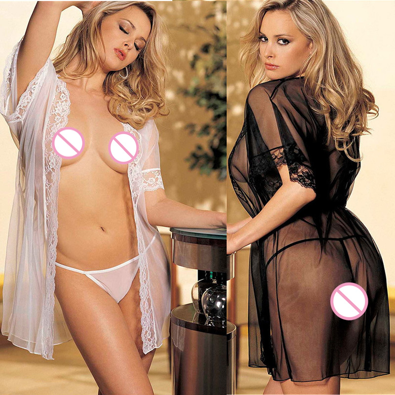Transparent Female Gown with T-back Cheap Hot sexy Seducing Erotic Sleepwear Women Sexy Lingerie