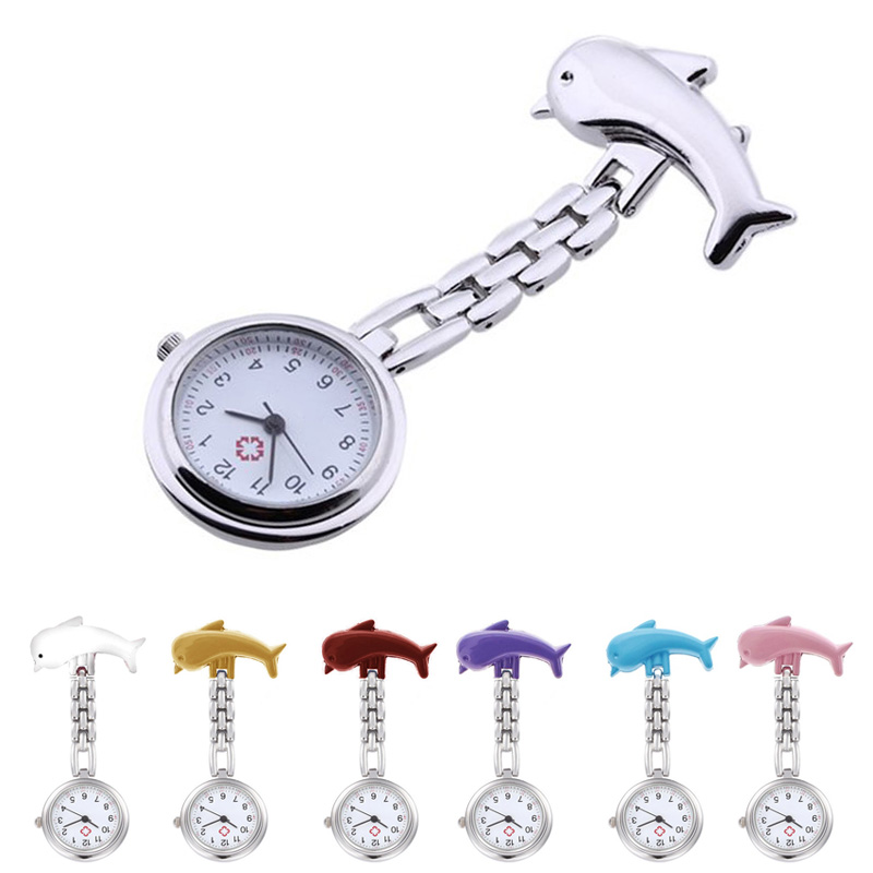 New Women's Dolphins Quartz Nurses Watch Alloy Fashion Smiley Nurse Table Pocket Fob Watches High Quality ~  TT@8