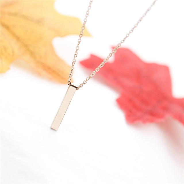 brixini.com - The Vertical Bar Minimalist Necklace