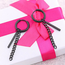 Black Link Chain Trendy Brief Titanium Stainless Steel Colors Plated Men Earring Drop Earrings For Women Classic Jewelry