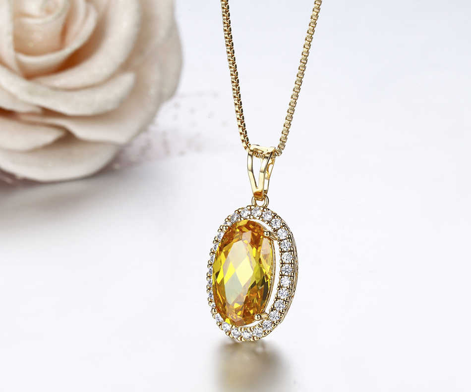 Big Oval Champagne Gold Crystal with White CZ Accent Suspension Necklaces & Pendants Chain Necklace Women Jewelry Collares Mujer