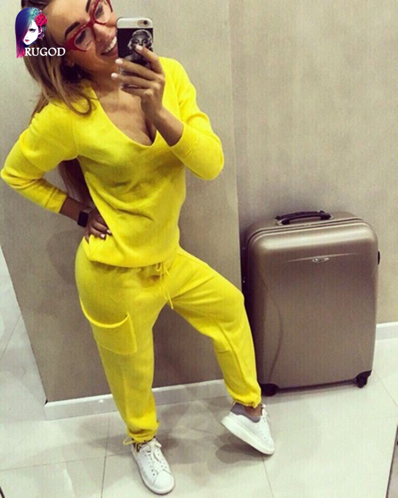 17 Hot 2 Pieces Set Women V-Neck Sexy Knitted two pieces sets Spring Suits Tracksuit Sweater top+ Pants Set Womens Casual Suit 13