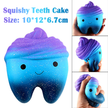 Squishy Fun Kawaii Cartoon Tooth Cake PU Relief Toys Imitation Slow Rising Kids Anti-strss Soft Rebound Children's Toys Squeeze