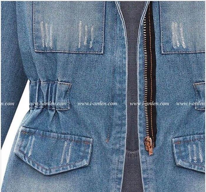 e7c5a72ae7de European Denim Jacket Women Jeans Coat Ripped Distressed Elastic Waist Long  Sleeve Pockets Fashion Casual Jeans Jackets Outwear-in Basic Jackets from  ...