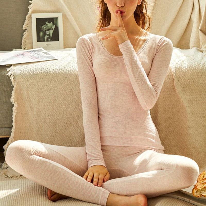 Cotton Long Johns Women For Winter Sexy Women Thermal Underwear Suit Women Body Slim Ladies Intimate Sets Female Pajamas Warm