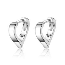 Trendy Girls Heart Hoop Earrings For Women Jewelry Top Quality 925 Sterling Accessories Black Female Bijou
