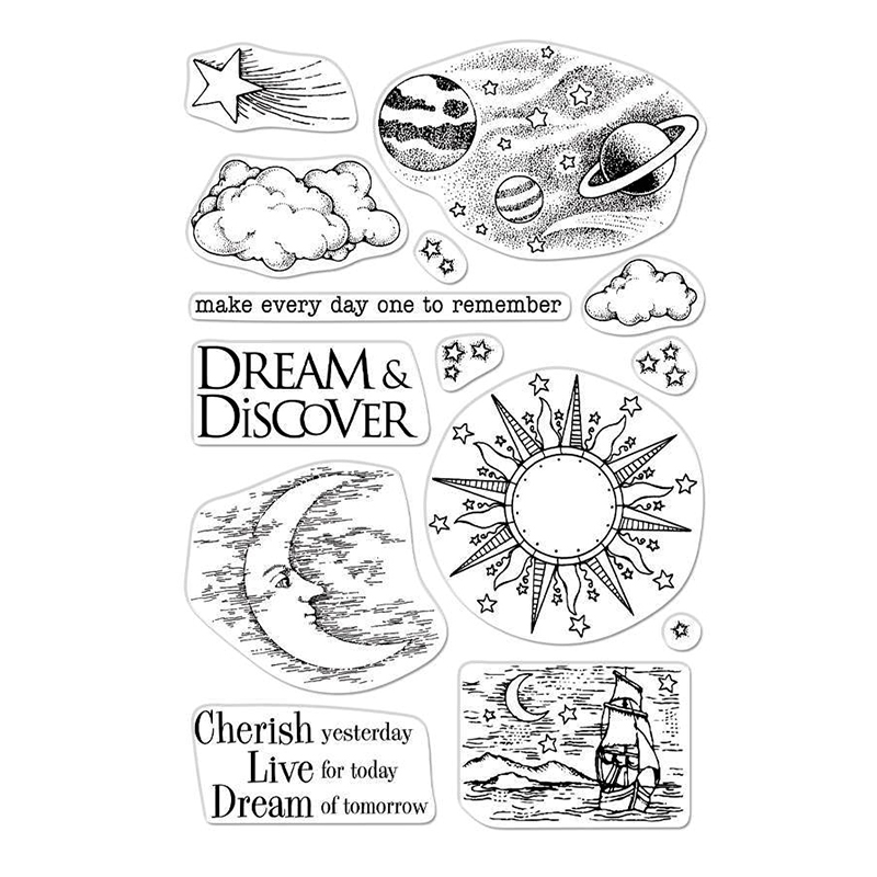 Celestial Body Transparent Clear Silicone Stamp/Seal For DIY Scrapbooking/photo Album Decorative Clear Stamp