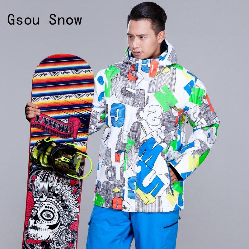 Prix pour 2017 Nouveau Hommes Ski Veste Gsou Neige Marque Coupe-Vent Imperméable À L'eau En Plein Air Sport Ski Snowboard Épaissir Vêtements Thermiques Mâle