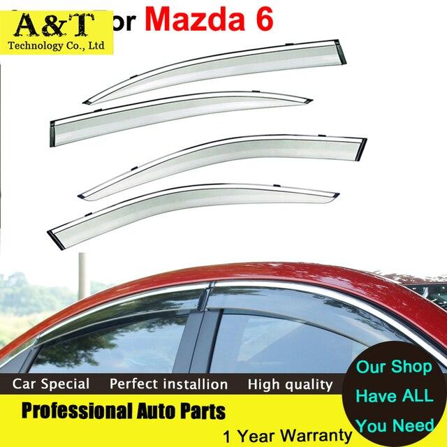 A & T do Windows viseira car styling Carro-Styling Toldos Abrigos de Chuva Sol Pala janela Para Mazda 6 2009 2011 2012 Adesivos Covers Acce