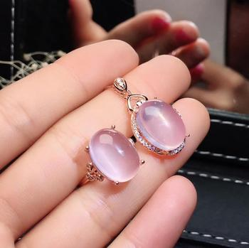 light pink color Rose Quartz gemstone ring and necklace for women silver ornament fine jewelry birthday party anniversary gift