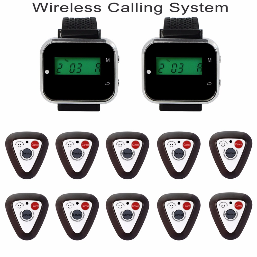 2pcs Watch Wrist Receiver +10pcs Call Button Pager Wireless Restaurant Pager Calling System 433.92MHz Restaurant Equipment F3296 service call bell pager system 4pcs of wrist watch receiver and 20pcs table buzzer button with single key