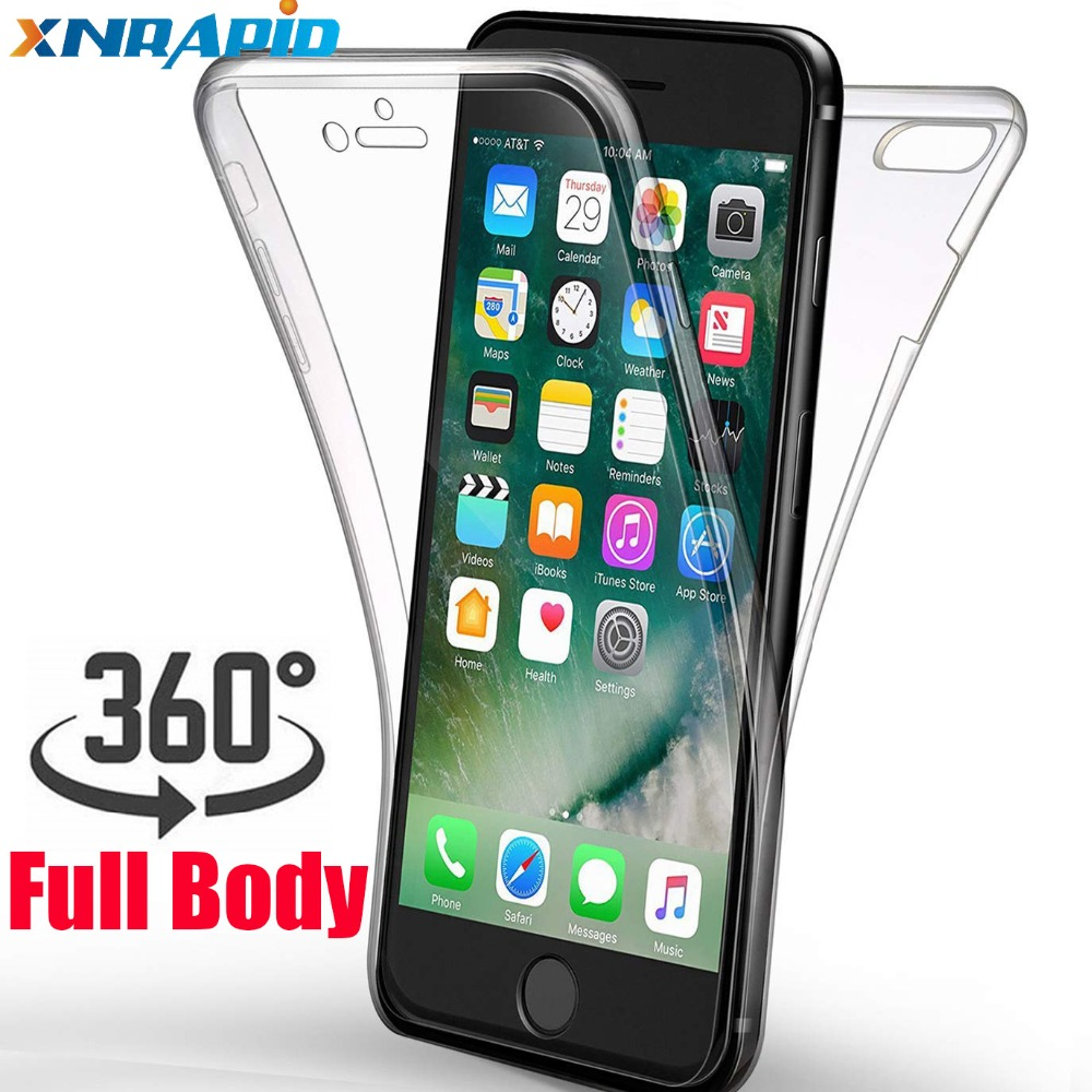 360 Degree Full Body Clear Case for iphone X XS MAX XR 6 7 8 Plus 6s 6 SE Drop Shock Proof Protective Soft TPU Cover in Fitted Cases from Cellphones Telecommunications
