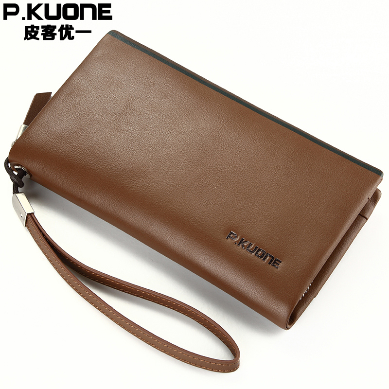 P.KUONE Luxury Brand Men Wallets Genuine Leather Clutch Bag Designer Wallets High Quality Male Purse Casual Daily Clutches kavis men long wallets genuine leather luxury brand designer purse men first layer cowhide men day clutches bag