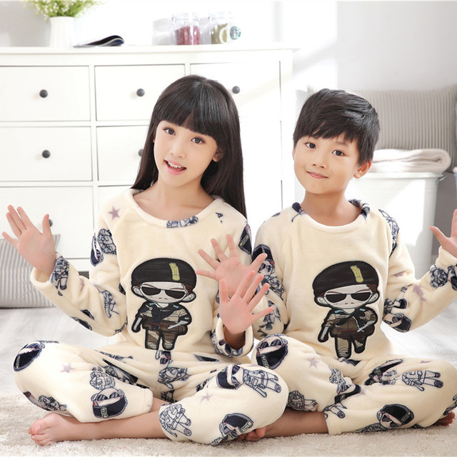 Winter Children Fleece Pajamas Warm Flannel Sleepwear Girls Loungewear Coral Fleece Kids pijamas Mujer Homewear Winter Pyjama