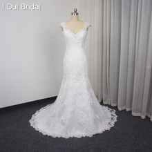 Cap Sleeve Illusion See Through Back Mermaid Wedding Dresses 2017 Real Photo Factory Custom Made Lace Appliqued High Quality