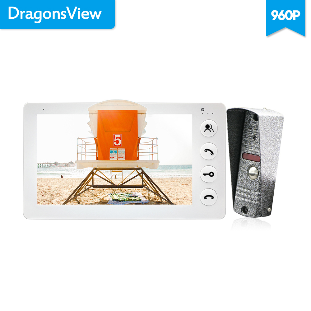 Dragonsview 7 Inch Video Call Door Phone Intercom System With Monitor and doorbell camera 960P HD