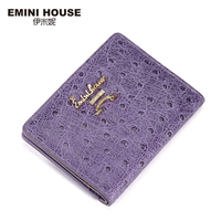 EMINI HOUSE Ostrich Pattern Sheepskin Short Wallet Oil Wax Women Genuine Leather Wallets Coin Purses Wallet