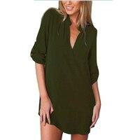 New 4XL 5XL Plus Size Women Blouse Shirt Summer Chiffon Casual V Neck Tops Tee Vintage