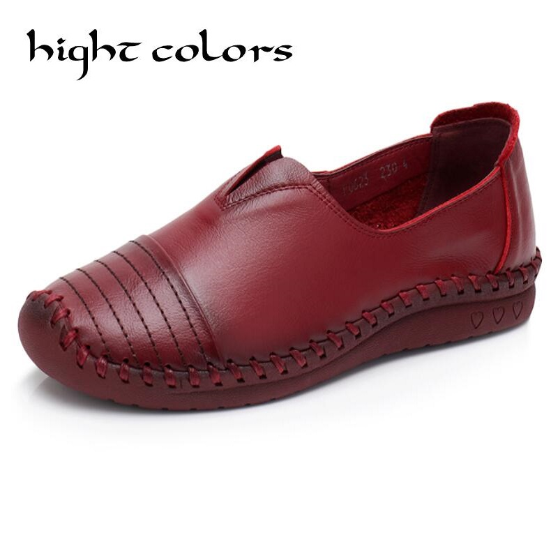 Hot Sale Women Flats Pure Hand-made Ladies Shoes Fashion Genuine Leather Soft Loafers Solid Women Casual Flat Shoes vintage embroidery women flats chinese floral canvas embroidered shoes national old beijing cloth single dance soft flats