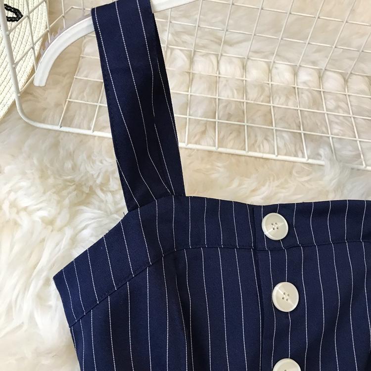 2019 Spring and Summer Korean New Stripe High Waist Open-back Jumpsuit Women Sleeveless Broad-legged Overalls G794 42