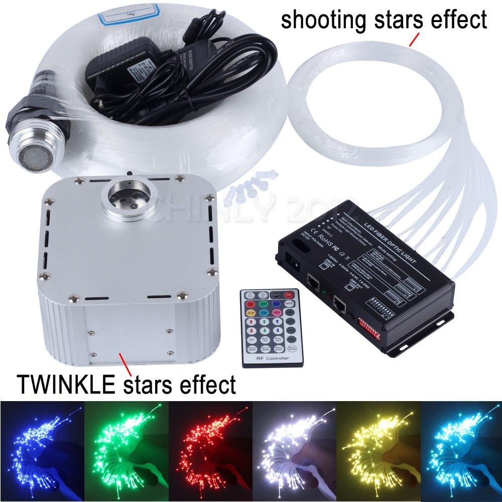 32W RGB 28key RF remote TWINKLE LED Fiber Optic Star Ceiling Light Kit 800pcs*0.75mm*4m +3pcs shooting stars effect twinkle starry sky star fiber optic ceiling light kit illuminator 350 points x 3meter 0 75mm