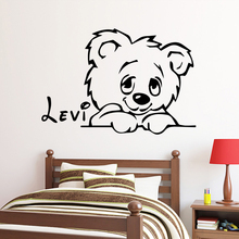 Custom Name Lovely Bear Vinyl Stickers Living Room Children Decal Creative wall