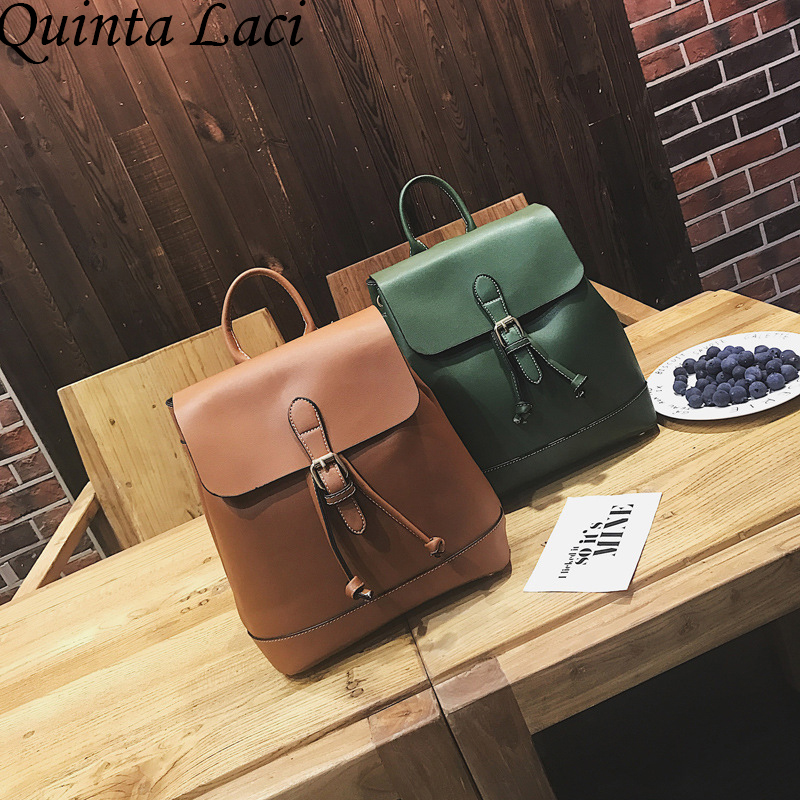 Quinta Laci Women Backpack 2017 New backpacks Fashion Women Backpack Belt Decoration Simple Waterproof Student Style