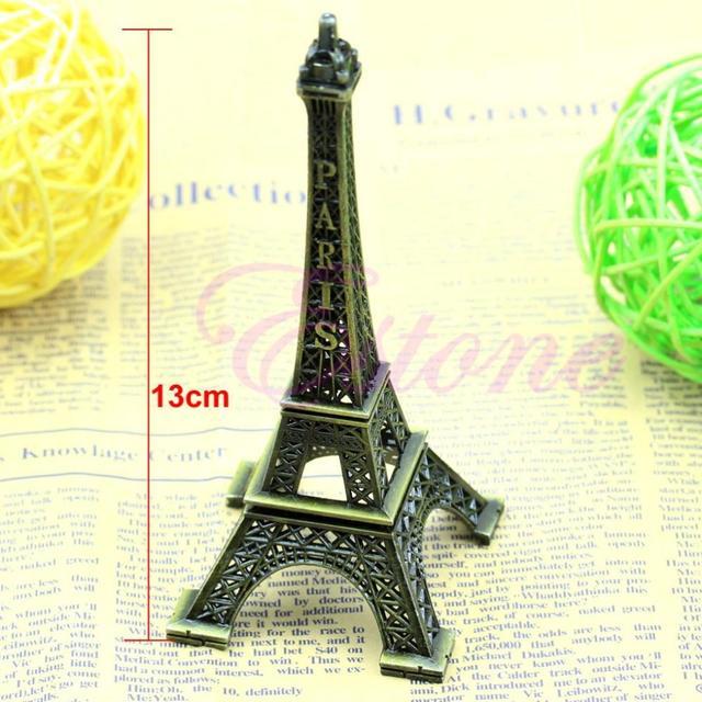 Bronze Tone Paris Eiffel Tower Figurine Statue Vintage Alloy Model Decor 13CM
