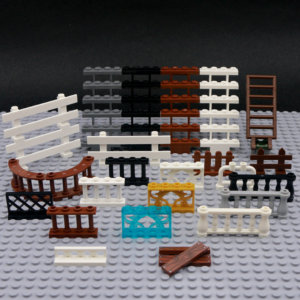 City Accessories Bricks Fence Railing Stairs MOC Mini Figure House Garden Military Ww2 Toy LegoINGlys City Parts Building Blocks