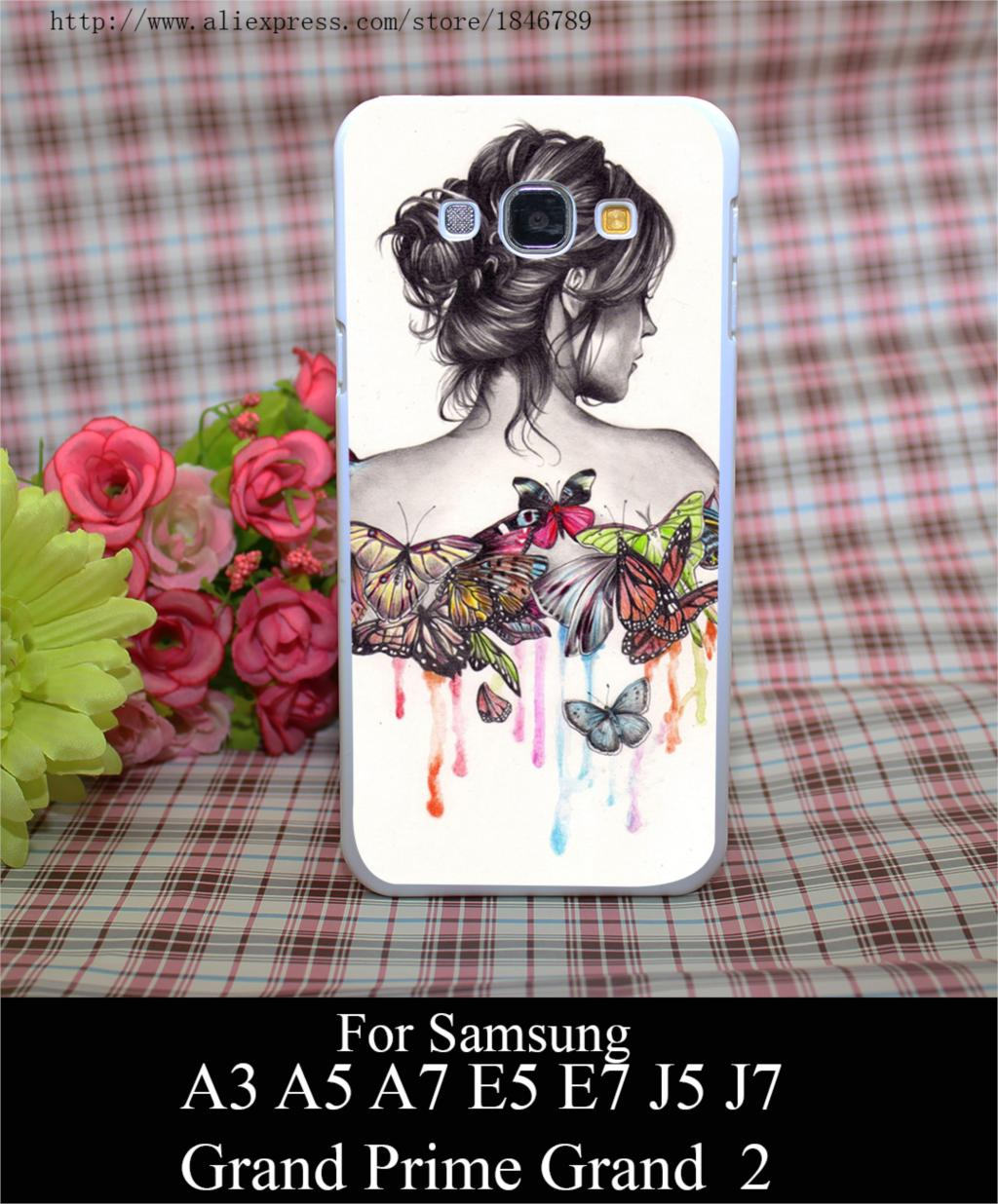 <font><b>Butterfly</b></font> <font><b>Effect</b></font> Style White Hard Case Cover for Samsung A3 A5 A7 A8 E5 E7 J5 J7 Grand Prime <font><b>2</b></font> G530