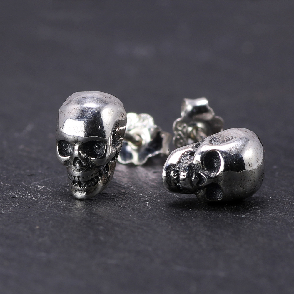 Gerçek 925 Ayar Gümüş Kafatası Küpe Çiviler Set Küçük Kaya Punk Gotik Vintage Takı Erkekler Ve Kadınlar Için Brinco Masculino
