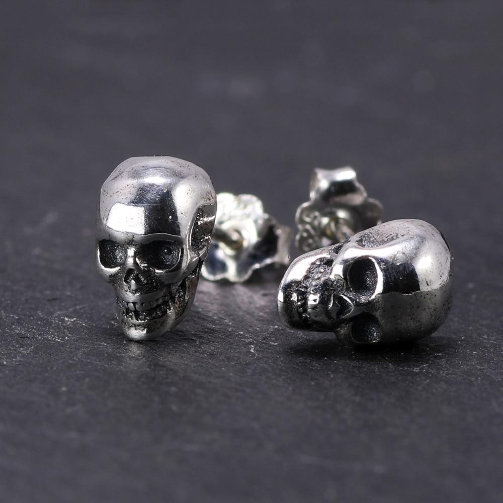 Nyata 925 Sterling Silver Skull Earrings Studs Set Kecil Batu Punk Gothic Vintage Jewelry Untuk Pria Dan Wanita Brinco Masculino