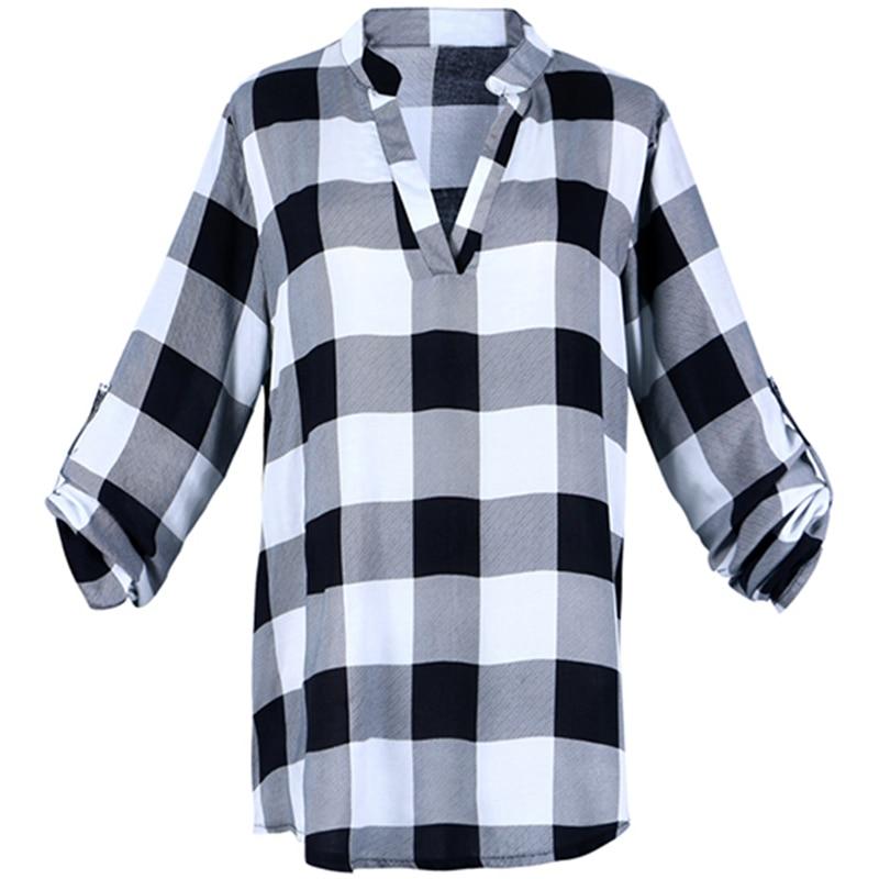 Fashion Summer Hot Women   Blouse     Shirt   Top   Shirts   Plus Size 4XL 5XL Grid Printed Armbands Loose Tops Tee Blusas Feminina Casual