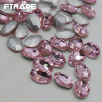 Oval Glass Rhinestone Light Pink Color 4x6mm 20x30mm Glue On Stone Crystal Pointback Button Non Holes