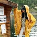 MX127 Nueva Llegada Del Otoño 2016 manga del batwing flojo ocasional cintura ajustable con capucha largo de gran foso de las mujeres amarillo