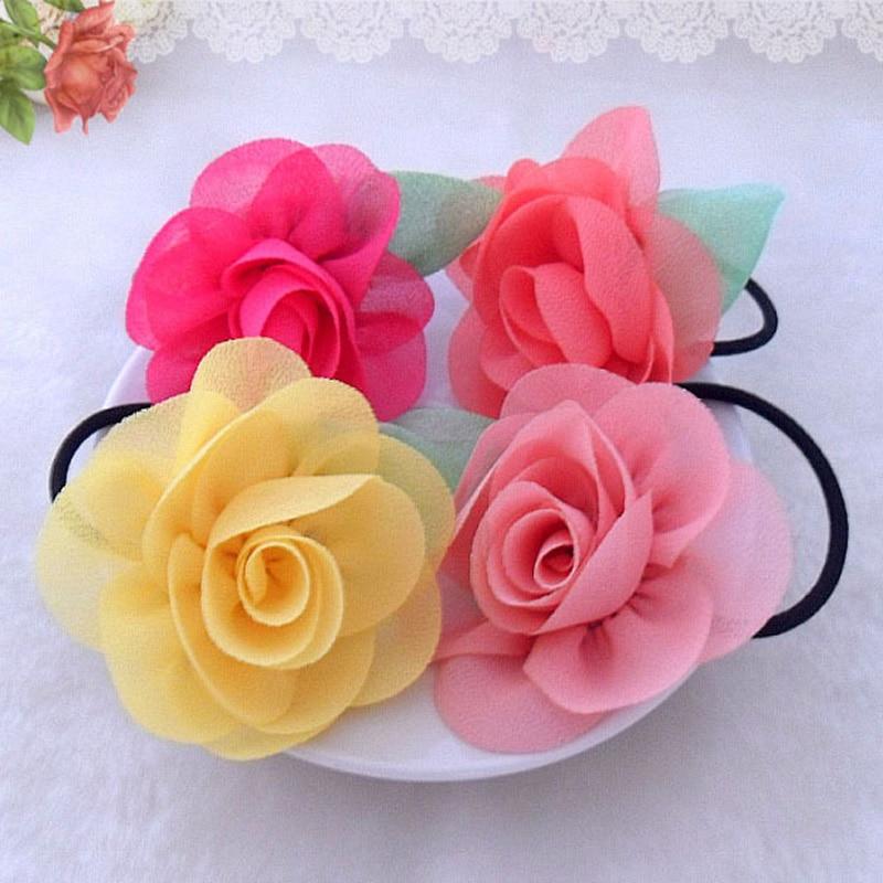 Fashion Girls Kids Children Lovely Flower Elastic Rubber Band Hair Rope Hair Band Popular   Headwear   Hair Accessories