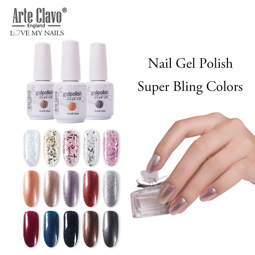 Arte Clavo 15ml UV Gel Nail Polish Rose Gold Glitter Sequins Soak Off UV Gel Varnish 131 Colors Nail Gel Polish Nail Art Laquer