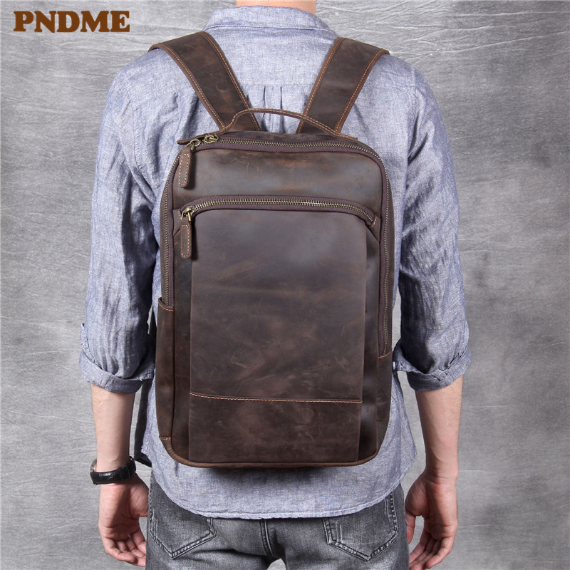 PNDME Vintage Simple Crazy Horse Cowhide Genuine Leather Men's Women's Backpack Large Capacity Laptop Bagpack Travel Bookbags