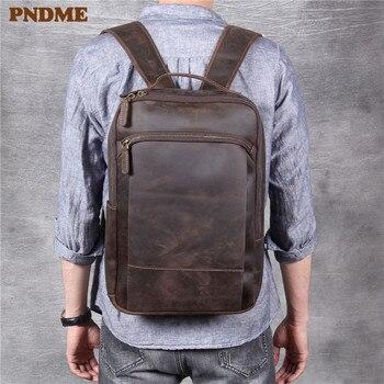 Pndme vintage simples cavalo louco do couro genuíno das mulheres dos homens mochila grande capacidade portátil bagpack viagem bookbagbags